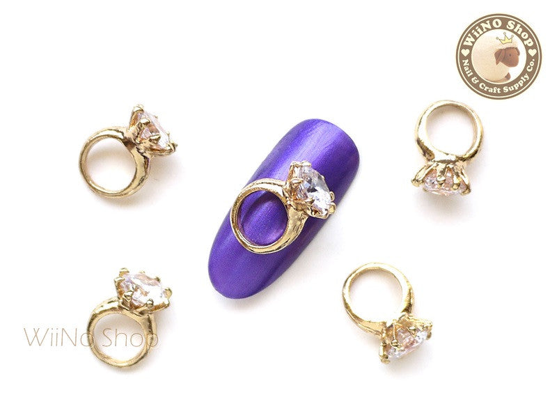 Gold Diamond Ring Nail Metal Charm - 2 pcs