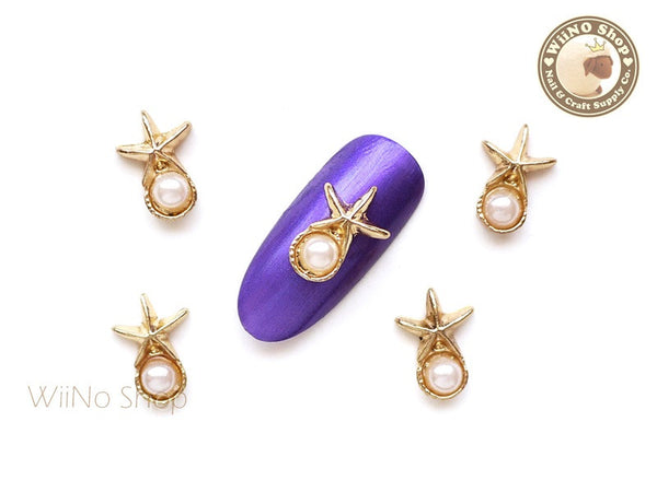 Gold Starfish with Pearl Nail Charm - 2 pcs