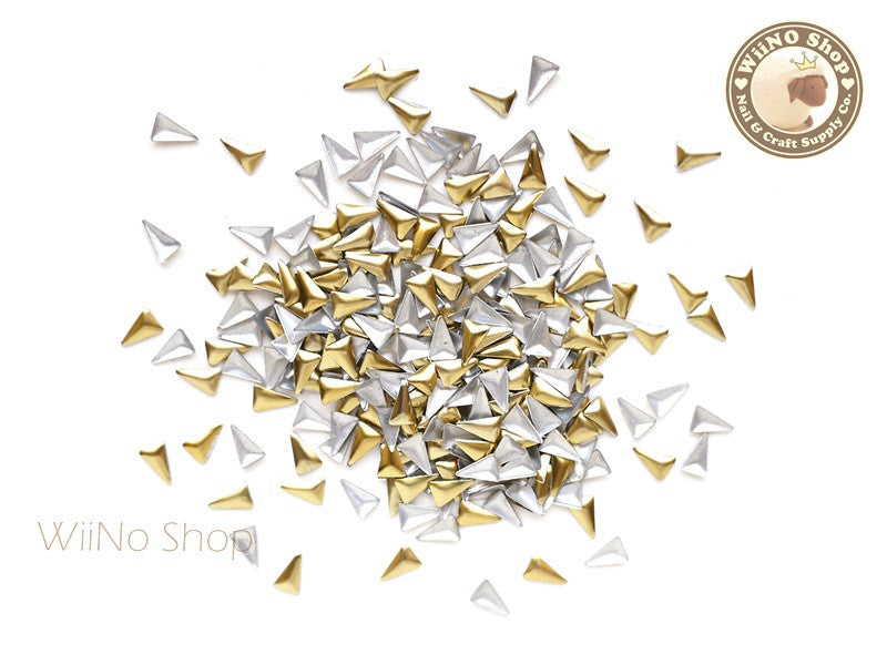 3 x 5mm Gold Skinny Triangle Metal Studs - 50 pcs