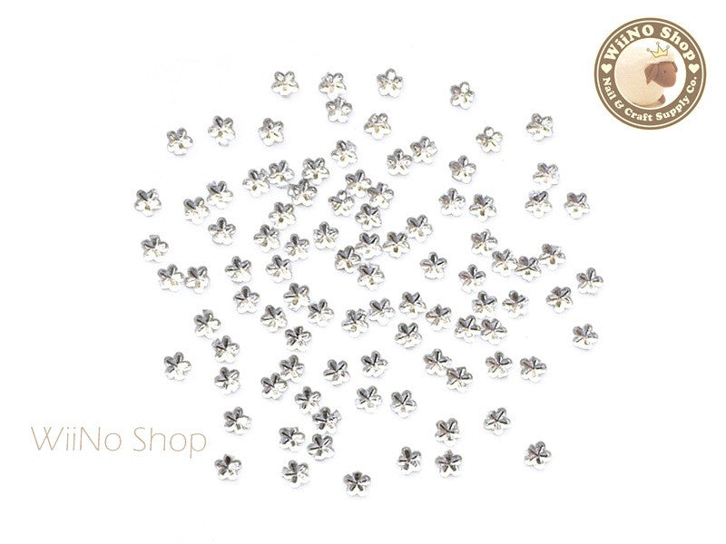 2.5mm Clear Flower Flat Back Acrylic Rhinestone Nail Art - 100 pcs