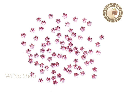 2.5mm Pink Rose Flower Flat Back Acrylic Rhinestone Nail Art - 100 pcs