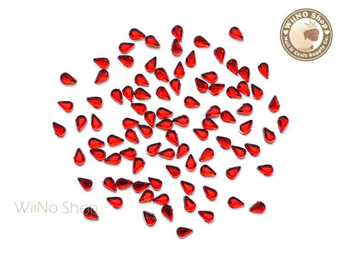 3.2 x 2.1mm Red Siam Drop Flat Back Acrylic Rhinestone Nail Art - 100 pcs