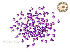 3.2 x 2.1mm Purple Violet Drop Flat Back Acrylic Rhinestone Nail Art - 100 pcs
