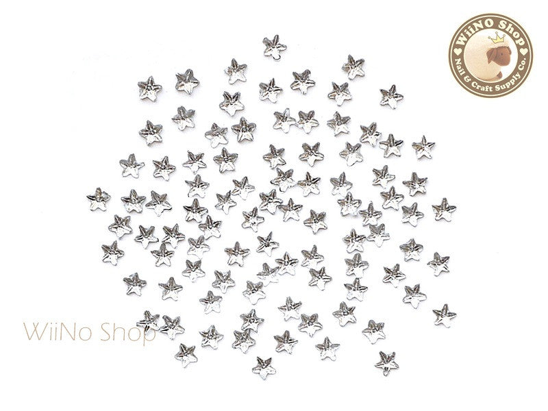 3mm Clear Star Flat Back Acrylic Rhinestone Nail Art - 100 pcs