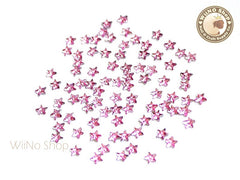 3mm Pink Rose Star Flat Back Acrylic Rhinestone Nail Art - 100 pcs