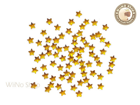 3mm Yellow Topaz Star Flat Back Acrylic Rhinestone Nail Art - 100 pcs
