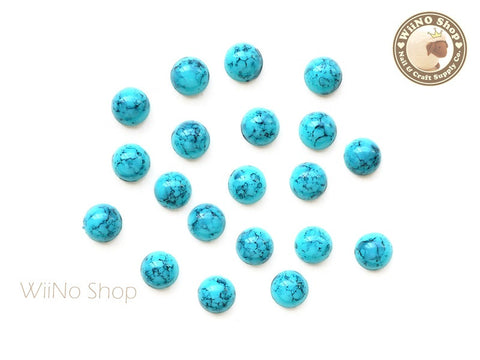 6mm Half Round Light Turquoise Flat Back Acrylic Cabochon Nail Art - 15 pcs