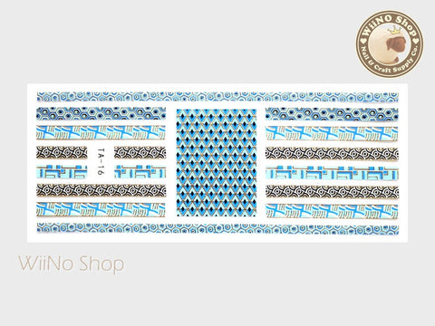 Blue Gold Geometric Pucci Style Adhesive Nail Sticker Nail Art - 1 pc (TA-16G)
