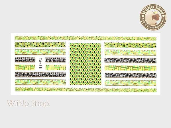 Neon Green Gold Geometric Pucci Style Adhesive Nail Sticker Nail Art - 1 pc (TA-18G)