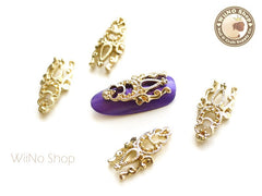 Gold Vintage Long Hollow Pattern Nail Metal Charm Nail Art - 2 pcs