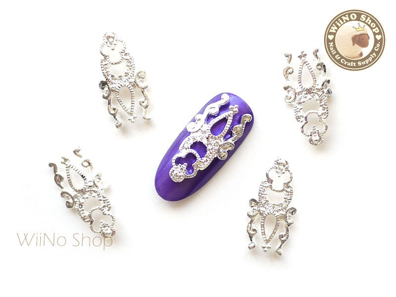 Silver Vintage Long Hollow Pattern Nail Metal Charm - 2 pcs