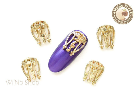 Gold Vintage Hollow Pattern Nail Metal Charm - 2 pcs