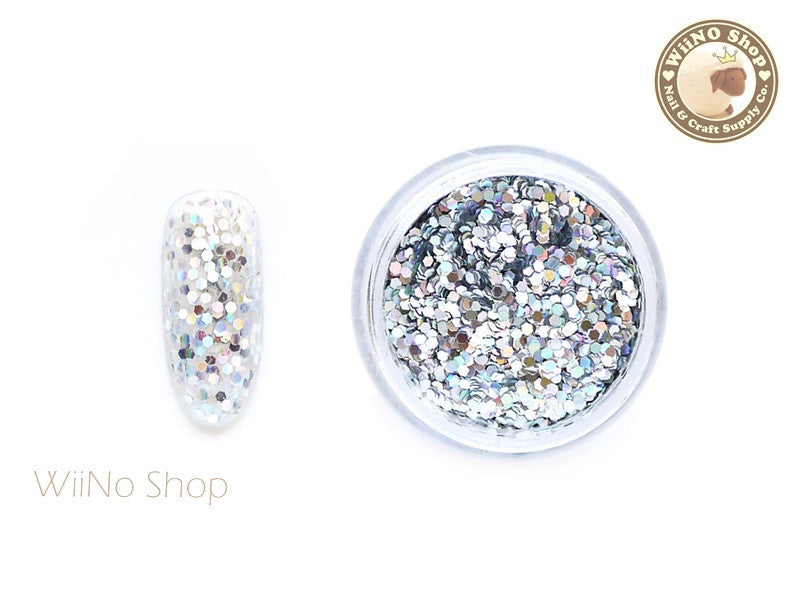 Silver 1mm Hexagon Holographic Glitter (HS01)