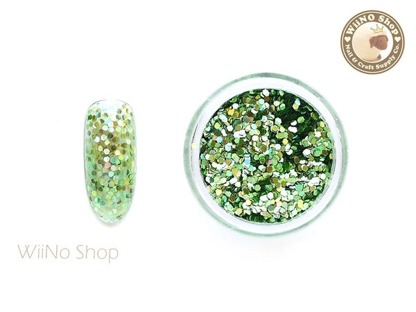 Light Green 1mm Hexagon Holographic Glitter / Nail Art Craft (HS04)