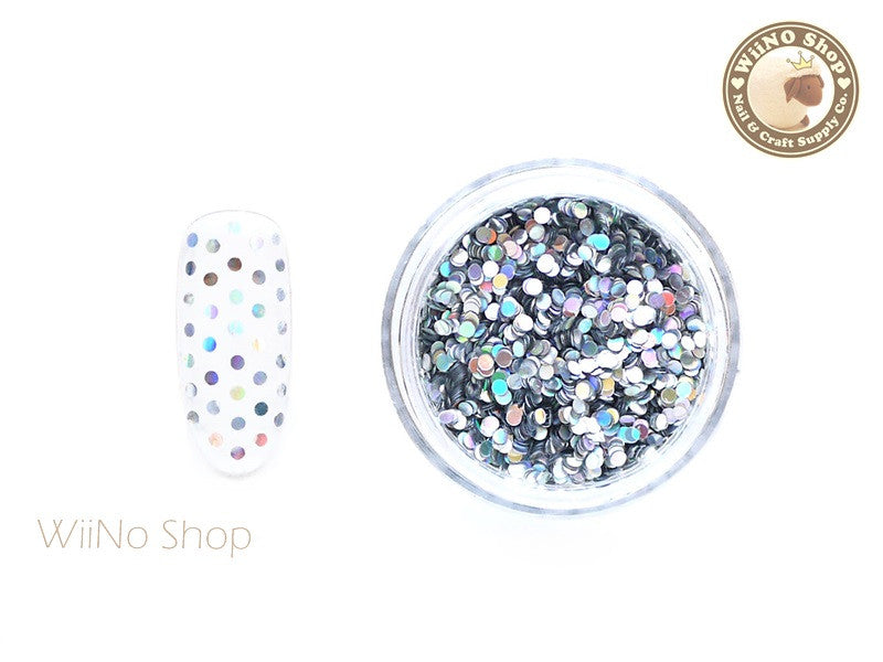1mm Silver Holographic Round Dots Glitter