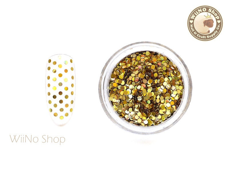 1mm Gold Holographic Round Dots Glitter