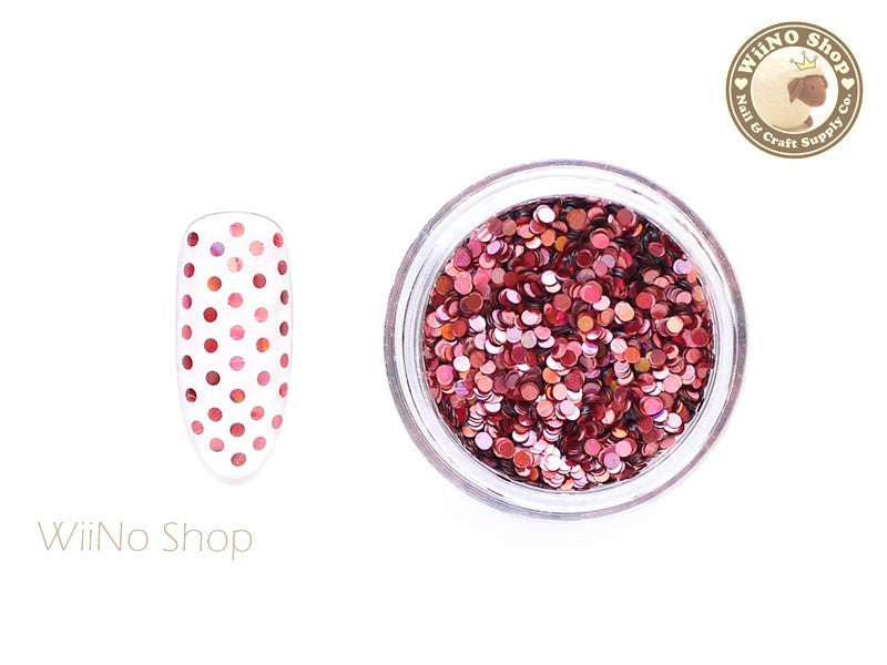 1mm Pink Holographic Round Dots Glitter