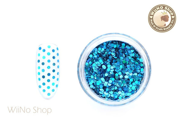 1mm Blue Holographic Round Dots Glitter / Nail Art Craft