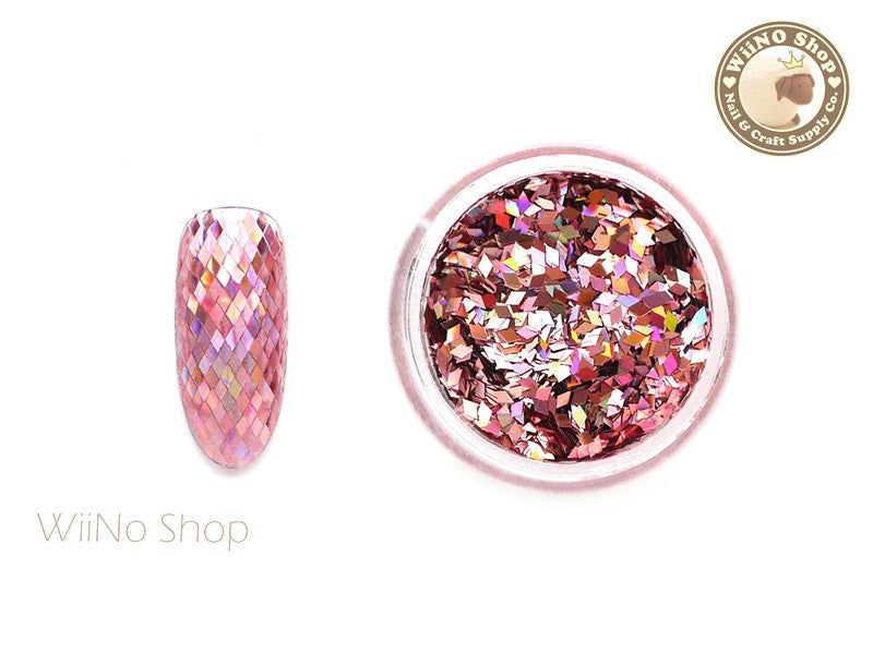 1 x 2mm  Pink Diamond Shape Holographic Glitter (DS01)