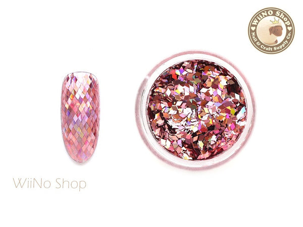 1 x 2mm  Pink Diamond Shape Holographic Glitter / Nail Art Craft (DS01)