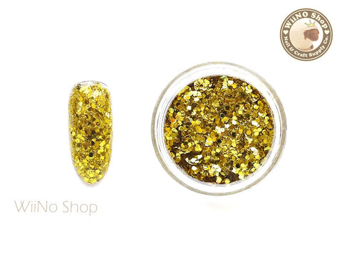 Yellow Gold Hexagon Mixed with Glitter Dust (A07)