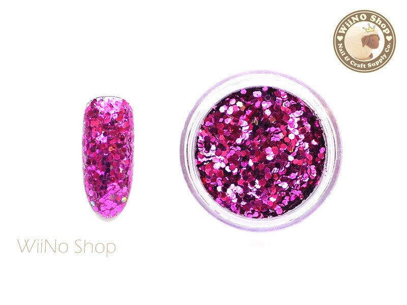 Fuchsia Hot Pink Hexagon Mixed with Glitter Dust (A09)