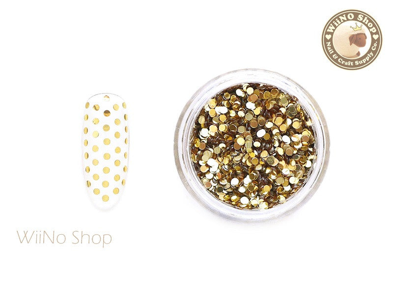 1mm Light Gold Round Dots Glitter