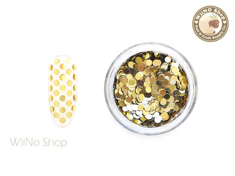 2mm Light Gold Round Dots Glitter