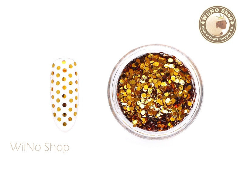 1mm Orange Gold Round Dots Glitter
