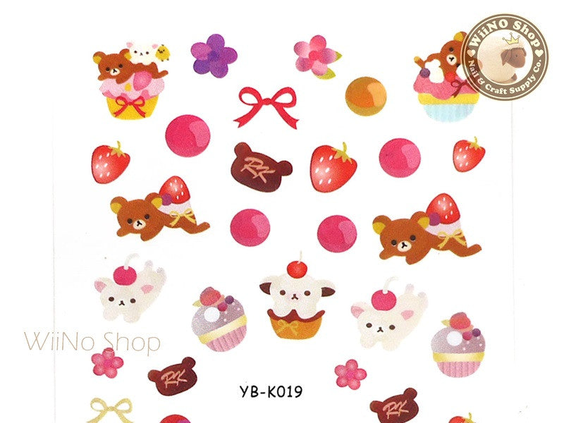 Sweet Dessert Bear Water Slide Nail Art Decals - 1pc (YB-K019)