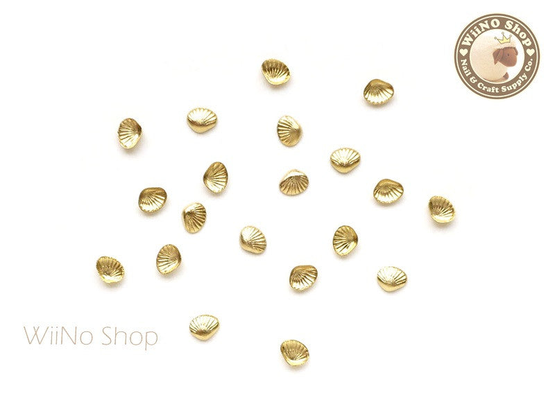 3mm Gold Clam Seashell Metal Studs - 10 pcs