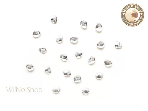 3mm Silver Clam Seashell Metal Studs - 10 pcs
