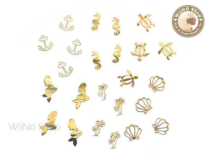 Gold Under the Sea Mixed Ultra Thin Nail Art Metal Decoration - 24 pcs