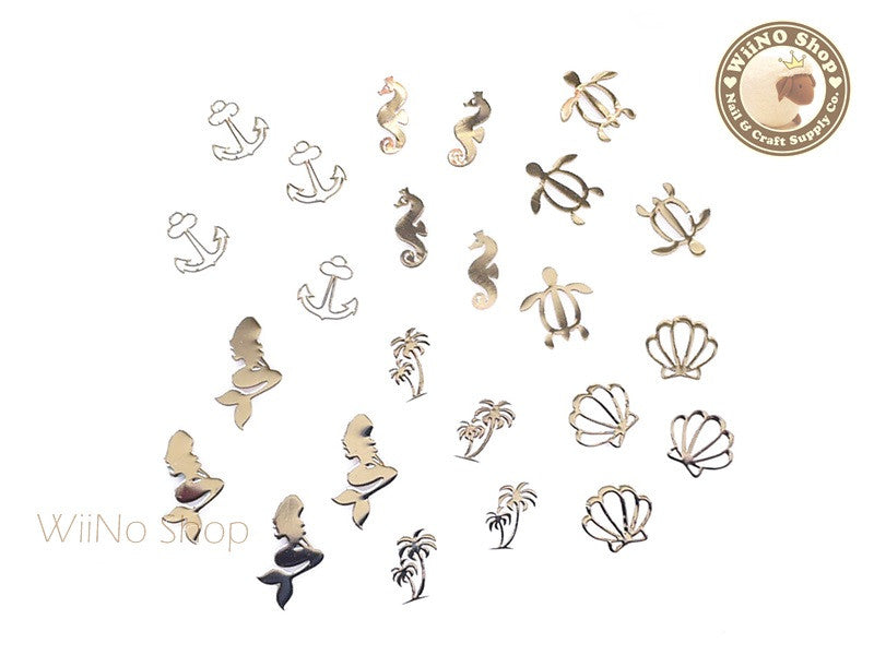 Silver Under the Sea Mixed Ultra Thin Nail Art Metal Decoration - 24 pcs