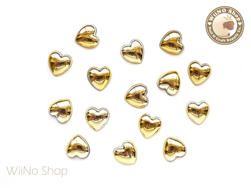 10mm Heart Gold Chrome Flat Back Acrylic Cabochon Nail Art - 10 pcs