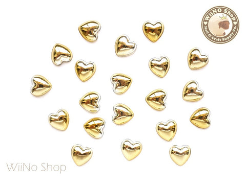 8mm Heart Gold Chrome Flat Back Acrylic Cabochon Nail Art - 10 pcs
