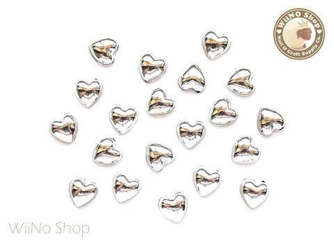 8mm Heart Silver Chrome Flat Back Acrylic Cabochon Nail Art - 10 pcs