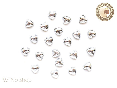 6mm Heart Silver Chrome Flat Back Acrylic Cabochon Nail Art - 10 pcs
