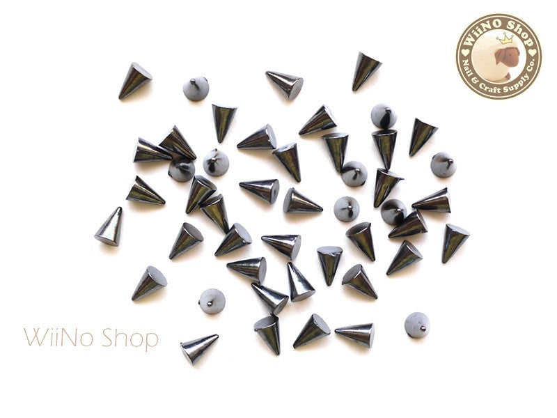 4 x 6mm Gun Metal Spikes Studs Nail Art Decoration Acrylic Cabochon - 30 pcs