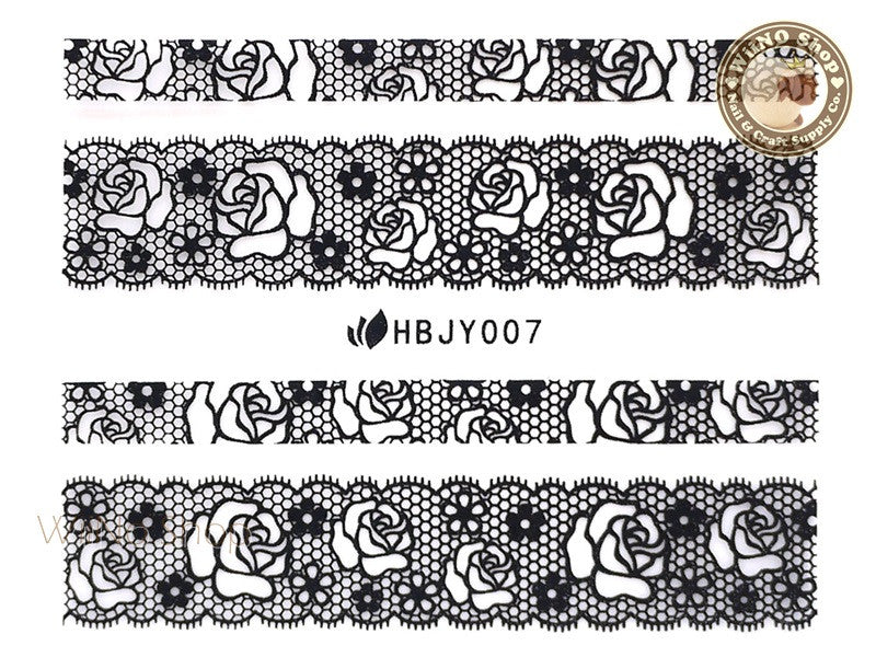 HBJY007 Black Lace Nail Sticker Nail Art - 1 pc