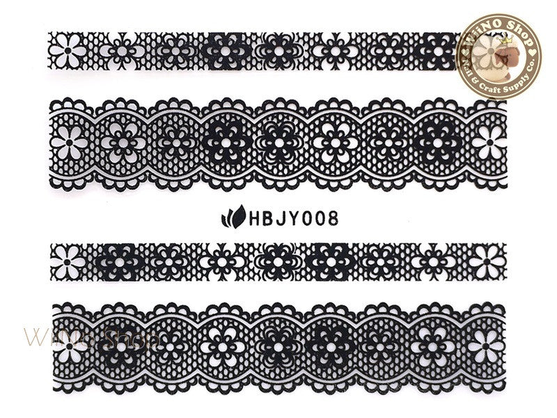 HBJY008 Black Lace Nail Sticker Nail Art - 1 pc