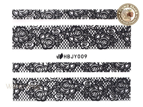 HBJY009 Black Lace Nail Sticker Nail Art - 1 pc
