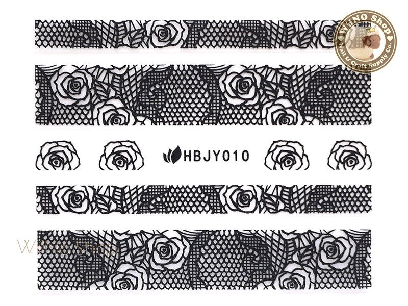HBJY010 Black Lace Nail Sticker Nail Art - 1 pc
