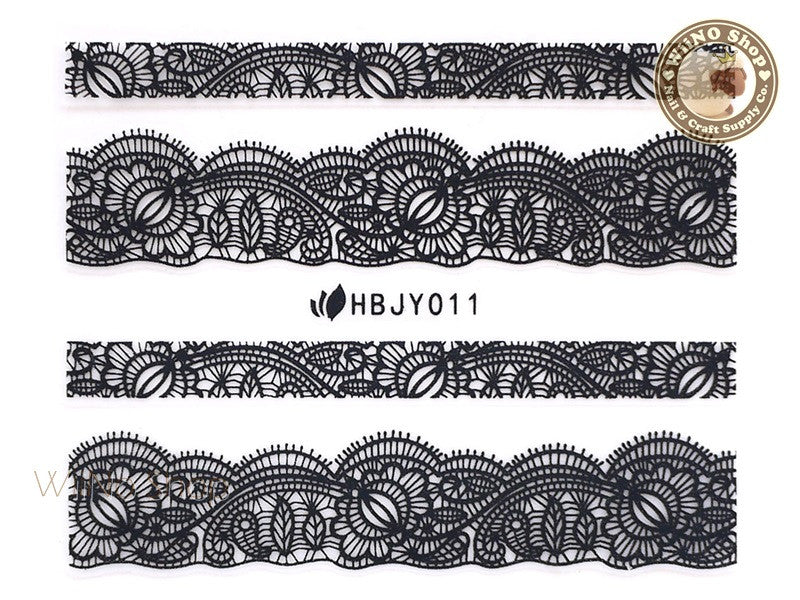 HBJY011 Black Lace Nail Sticker Nail Art - 1 pc