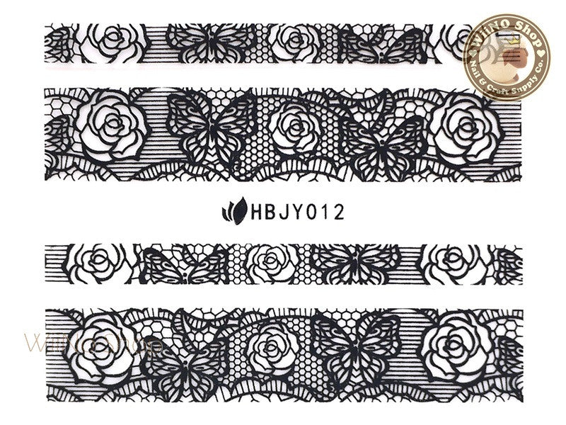 HBJY012 Black Lace Nail Sticker Nail Art - 1 pc