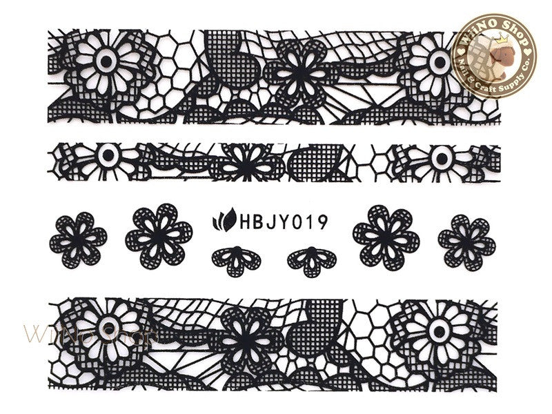 HBJY019 Black Lace Nail Sticker Nail Art - 1 pc