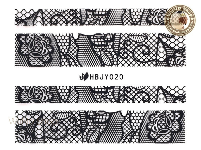 HBJY020 Black Lace Nail Sticker Nail Art - 1 pc