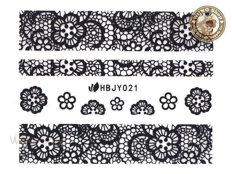 HBJY021 Black Lace Nail Sticker Nail Art - 1 pc