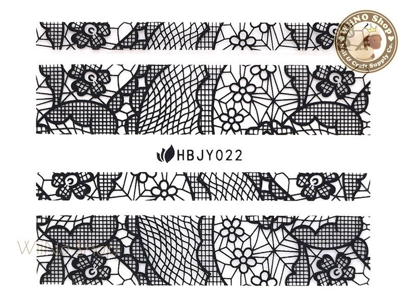 HBJY022 Black Lace Nail Sticker Nail Art - 1 pc
