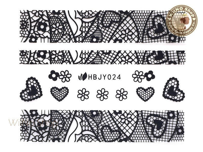 HBJY024 Black Lace Nail Sticker Nail Art - 1 pc